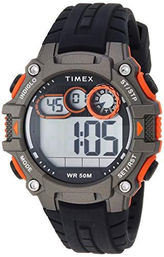 - Timex Men's TW5M27200 Big Digit DGTL 48mm Black/Gray/Orange Silicone Strap Watch