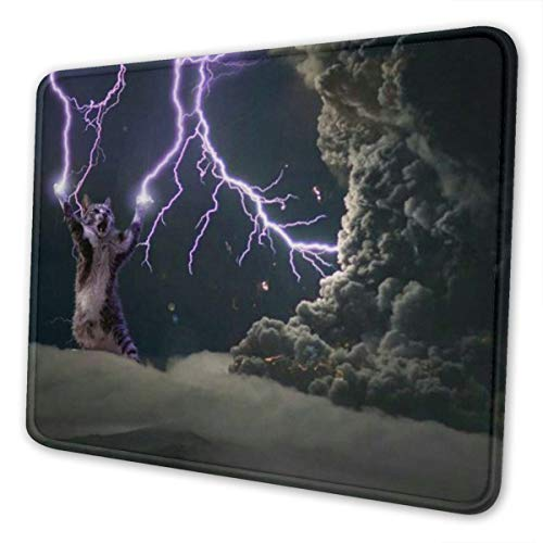 Gloriaguyen Lightning Cat Meow Mouse Pad with Locking Edge, Non-Slip Rubber Base Mousepad, for Laptop, Computer, PC 7 X 8.6 in