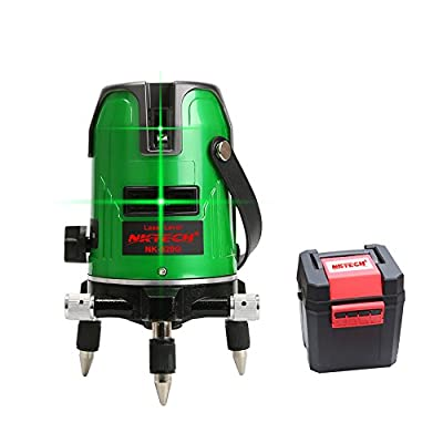 NKTECH Laser Level NK-520G 2-Lines 360° Rotary Self-leveling Horizontal Vertical Cross-line Green 532nm Laser Levels Indoor/Outdoor with 1050mAh Polymer Li-ion Battery