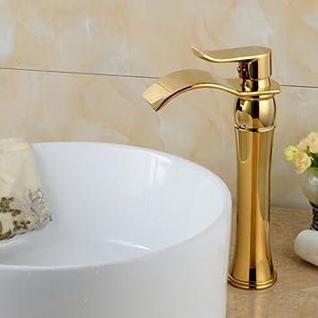 Ouecc Shang Goldene Farbe Badezimmer Wasserfall Bad Armatur ...