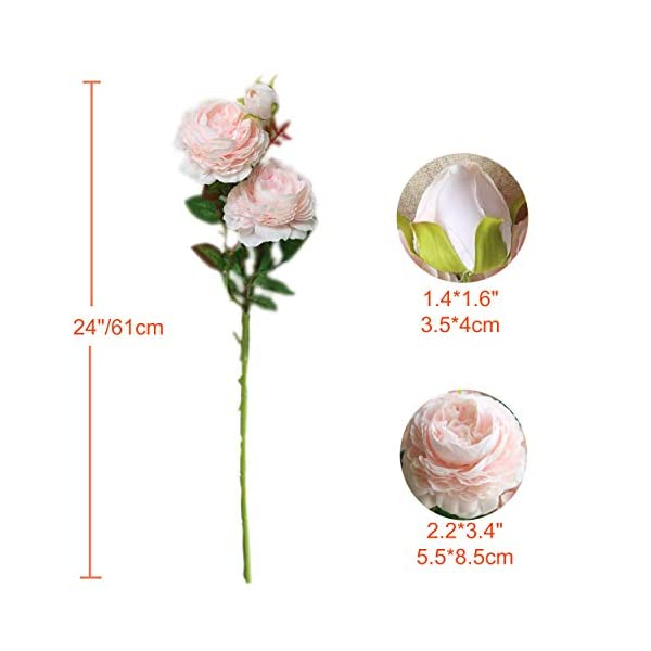 """cn-Knight Artificial Flower 12pcs 24"""" Silk Peony Long Stem with 2 Blossoms and 1 Bud Faux Flower for Wedding Bridal Bouquet Bridesmaid Home Décor Office Baby Shower Centerpiece(Light Pink)"""