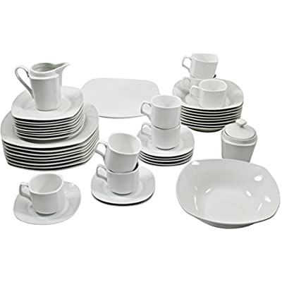 Click for 10 Strawberry Street 45-Piece Square Dinnerware Set, White
