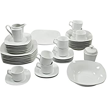 10 Strawberry Street 45-Piece Square Dinnerware Set White  sc 1 st  Amazon.com : 45 pc dinnerware set - Pezcame.Com