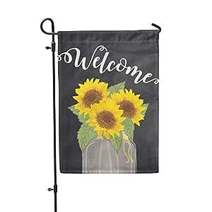 """Bandera de Jardín girasol Bienvenido corona bandera de Jardín 12""""x18"""""""
