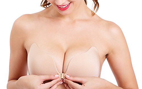 Strapless Gathered - Gathered Silicone Bra Invisible Strapless lite Bra Self Adhesive Push Up (A{32/70A,34/75A}, QJ36- Apricot)