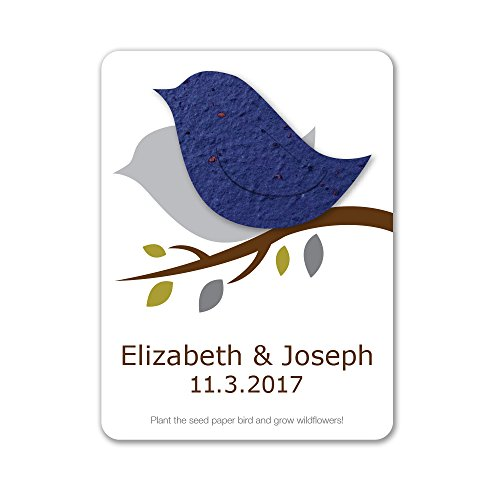 (Bloomin Plantable Love Bird Wedding Favor with Seed Paper - Royal (25 Card Set))