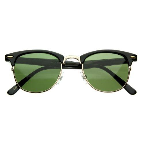 Vintage Classic Half Frame Semi-Rimless Wayfarer Optical RX Sunglasses