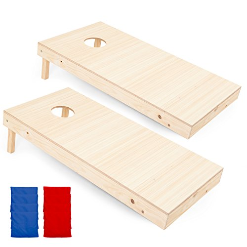 Play Platoon Regulation Wooden Cornhole Boards with Cornhole Bag Set - 2 x 4 Ft Tournament Size Wood Corn Hole Board - Tournament Board Game