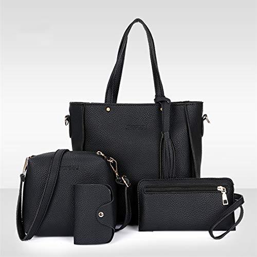 Pièces Composit Bag À Main Guoxuee Sac Bandoulière Mode lot 4 noir Glands OH51wqF
