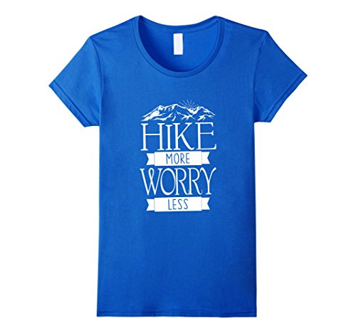 Women's Hike More Worry Less Mountain Hiking T-Shirts Large Royal Blue (T-shirt Mountains Less)