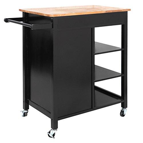 ZENSTYLE 4-Tier Rolling Kitchen Island Utility Wood Trolley Serving Cart Kitchen Storage Cart w/Towel Rack, Rubberwood Butcher Block Countertop, Cabinet, Drawer, Shelves by ZENSTYLE (Image #4)