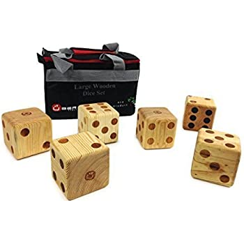 Uber Games Large Wooden Dice Set - Hardwood - Natural Finish