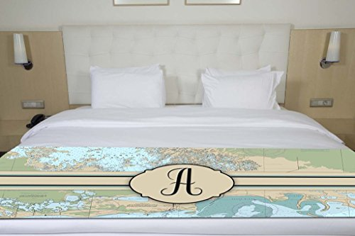 Letter A Nautical Chart Map Initial Monogram Bed Runner Scarf Twin/Full/Queen/King Size