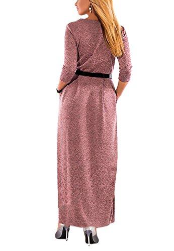 Hipster Blusenkleid Vintage Cocktailkleid Cocktail Kleid Langarm Swing Rundhals Großen Größen Kleider Lang Party Unique Elegant Damen Waist High A-linie Festlich Violett Einreihig Maxikleider