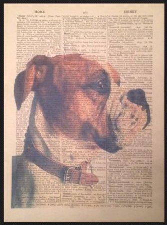 ヴィンテージAmerican Bulldog犬印刷Upcycled辞書ページ壁アート画像 B01DYQZK88