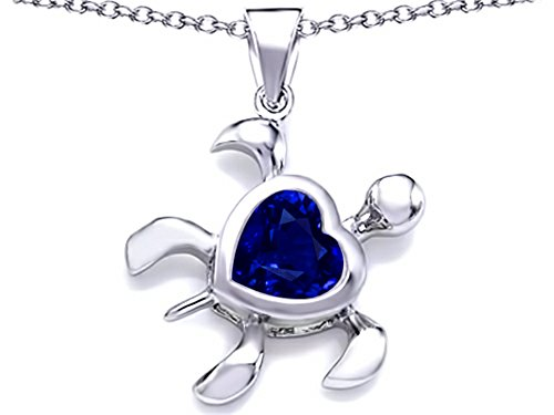 Large Turtle Pendant - Star K Large 10mm Heart Shape Simulated Sapphire Sea Turtle Pendant Necklace Sterling Silver