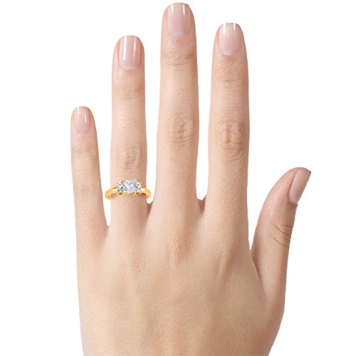 Finejewelers Solid 10k Yellow Gold 6x6mm Cushion Center and Side White Topaz Ring