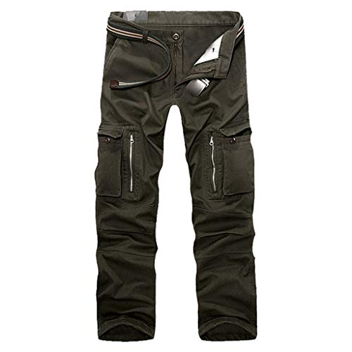 ANJUNIE Men's Cotton Casual Trouser Military Army Cargo Camo Combat Work Pants with Multi-Pocket(Army Green,34)