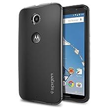 Nexus 6 Case, Spigen® [Neo Hybrid Series] METALLIZED BUTTONS [Gunmetal] Bumper Style Premium Case Slim Fit Dual layer Protective Cover for Google Nexus 6 (2014) - Gunmetal (SGP11241)