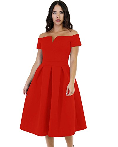 Lalagen Women's Vintage 1950s Party Cocktail Wedding Swing Midi Dress Red L