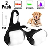Derlights Dog Light with USB Rechargeable, Fashion Light Up Dog Collar Light, Led Safety Emergency Dog Lights for Night Walking, Running, Pet, Camping or Bike, IP65 Waterproof, 2 Pack