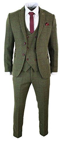 Mens 3 Piece Herringbone Tweed Olive Green Wine Check Suit Tailored Fit Double (Tweed Tailored Jacket)