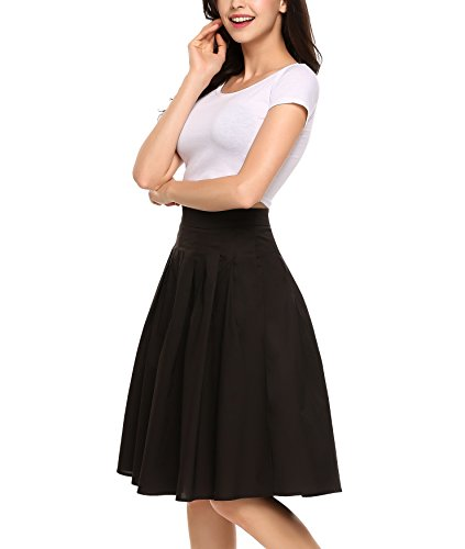 Zeagoo Women's Vintage High Waist A-Line Pleated Midi Swing Skirts Knee Length With Pockets