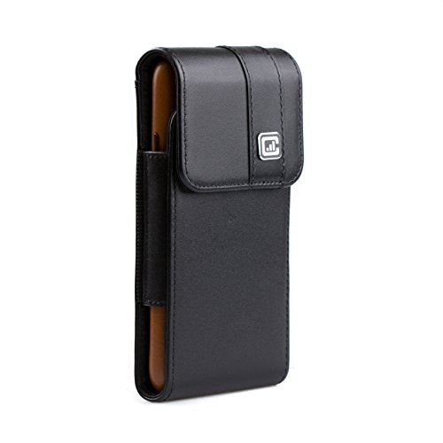 Holster Swivel Leather Case ([Gorilla Clip] CASE123 MPS MK II TLS Genuine Leather Vertical Oversized Swivel Belt Clip Holster for Apple iPhone X for use with Apple leather case or slim covers - Black Cowhide)