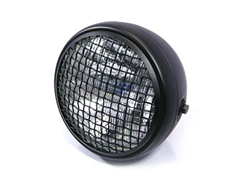 Retro Style Motorcycle Headlight with Full Metal Housing, Mesh Grill & Matte Black Finish | 55W H4 Halogen Sealed Beam, 12V ()