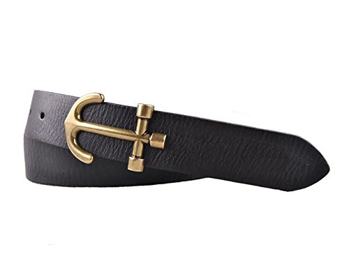 Matthew Men's Retro Anchor Buckle Handmade Italy Leather Belt (115cm/45.3inch (40-42), Black Anchor 2)