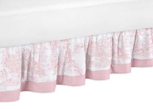 Toile Bedskirt (Pink French Toile Queen Girl Bed Skirt by Sweet Jojo)