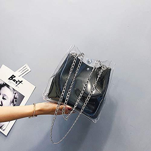 Negro Para nbsp;negro Mujer Cubos Transparente Plástico Compuesto Pequeños Cadena Jalea Bolsa De Fufufuchen Bolsos Totes nbsp; Mini UqnAaa