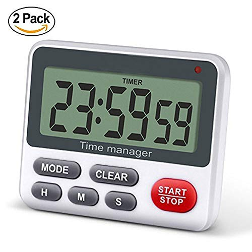 Timer Button - Digital Kitchen Cooking Timer Clock, Simultaneous Timing Countdown Up Pocket Timer with alarm clock, Large Led Display, Memory, Stopwatch Function, Magnetic Back (Battery included)