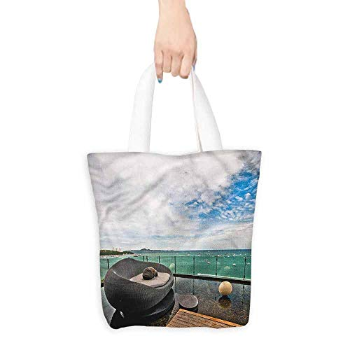 Tote bag,Patio Thailand Pattaya City Ocean,Organic Cotton Washable & Eco-friendly Bags,16.5