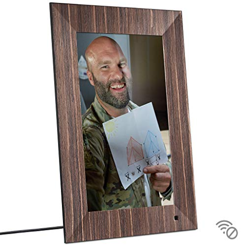NIX Lux 13 Inch USB Digital Photo Frame Wood - Full HD IPS Display, Auto-Rotate, Motion Sensor, Remote Control - Mix Photos and Videos in The Same Slideshow