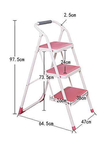 YI GAO 3 Tread Step Stool Chairs for Adults & Kids Folding Ladder with Handle Outdoor Portable Stepladder/Storage Shelf/Footstool/Flower Rack Step Stool (Color : Pink)
