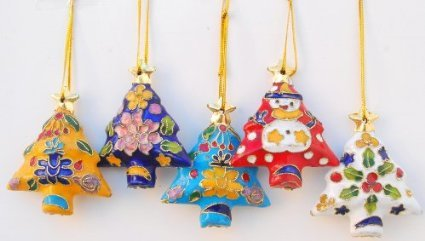 Christmas Tree Cloisonne Ornament - In Various - Christmas Tree Cloisonne