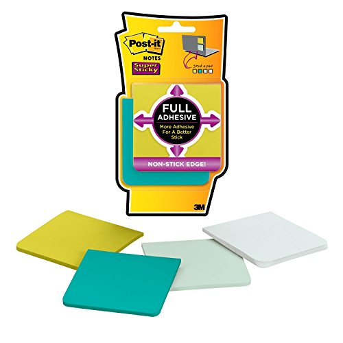 Post-it Super Sticky Full Adhesive Notes, 2x Sticking Power, 3 in x 3 in, Bora Bora Collection, 25 Sheets/Pad, 4 Pads/Pack (F330-4SSFM)