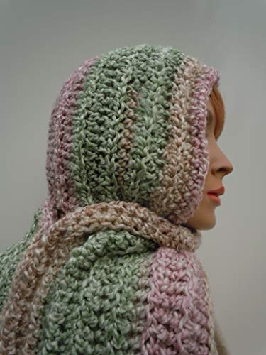 Hooded Scarf, Pastel Colors Pixie Hood, Hat and Scarf Set, Womens Scarf, Crochet Hood