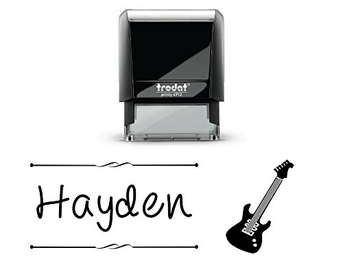 Customized Kids Self Inking Stamp. with a Electric Guitar Image. Great for Naming Work. Select from 5 Ink Colors