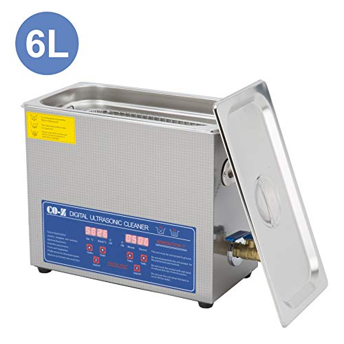 CO-Z 6L Professional Ultrasonic Cleaner with Digital Timer&Heater for Jewelry Glasses Watch Dentures Small Parts Circuit Board Dental Instrument, Industrial Commercial Ultrasound Cleaning Machine