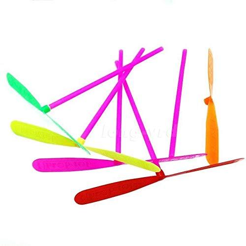 Hengbaixin Lot de 10 libellules volantes en plastique color/é avec h/élice en bambou Transditionnelle pour enfants