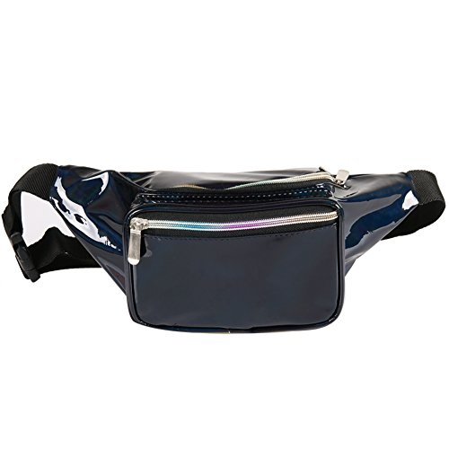 Holographic Fanny Pack for Women - Waist Fanny Pack with Adjustable Belt for Rave, Festival, Travel, Party (Pure Black) -