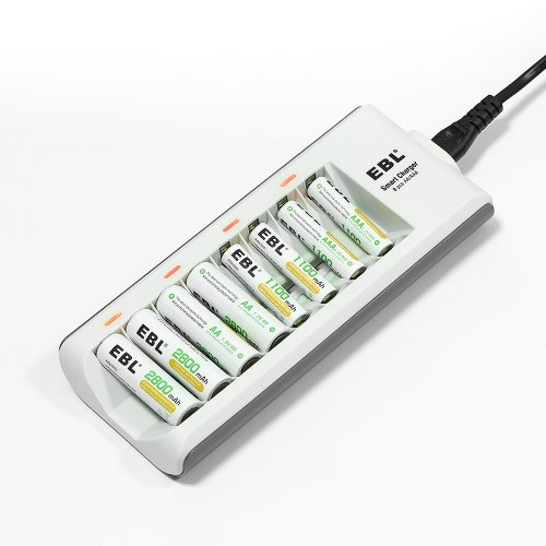 EBL® 808A 8 Bay AA AAA Battery Charger for Ni-MH Ni-Cd Pre-charged Rechargeable Battery