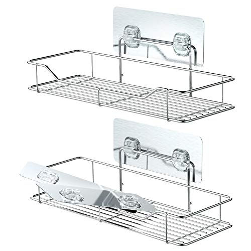 Bathroom Shelves, Veckle Adhesive Shower Caddy Shelf Traceless Wall Mounted Kitchen Rack No Drilling Storage Organizer Stainless Steel Shelf 2 Pack by Veckle