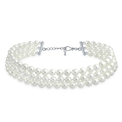 Bling Jewelry Bridal Hand Knotted 3 Row Wide White Simulated Pearl Strand Choker Collar Necklace for Teen for Women Silver Plated