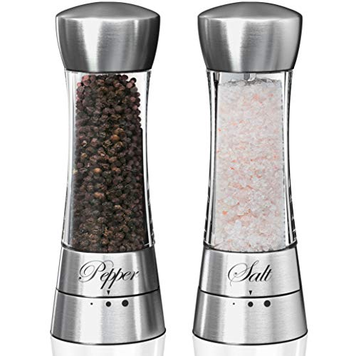 Premium Salt and Pepper Grinder Set. Grinding Shakers Gift Set. 3 Adjustable Settings. Perfect Present/Gift Idea for Wedding, Housewarming, Anniversary, Engagement, Birthday.