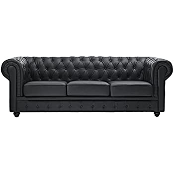 Modway Chesterfield Sofa in Black Leather and Leather Match