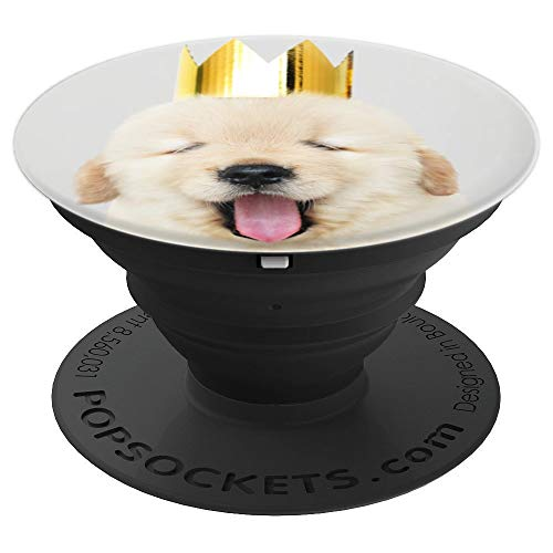 Cute King Puppy Gold Retriever - PopSockets Grip and Stand for Phones and Tablets