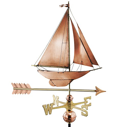 Good Directions Racing Sloop with Arrow Weathervane, Pure Copper, Boat (Arrow Racing)